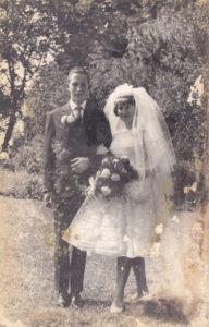Een trouwfoto met waterschade